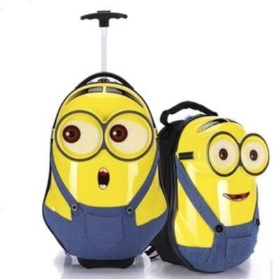 3D小黄人儿童拉杆箱卡通学生奶爸腰包旅行箱行李箱子母箱男女