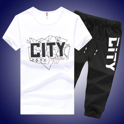 青少年短袖T恤套装14夏季13大童男孩运动服15初中学生16岁两件套