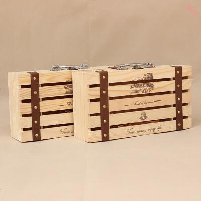 定制紅酒盒木盒酒盒雙支裝葡萄酒盒實木紅酒包裝盒松木手提紅酒盒子w松木雙支五條條