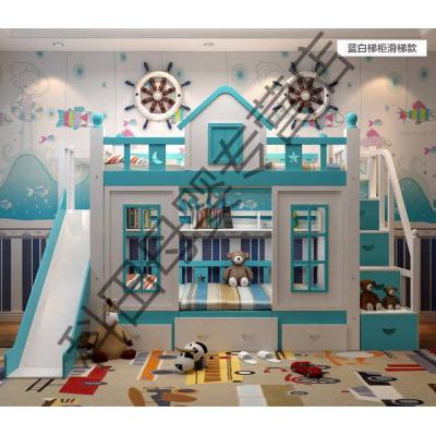 兒童床上下床雙層床高低子母床帶書桌上下鋪女孩公主床城堡滑梯 梯柜+滑梯款【藍白】 1500mm*2000mm更多組合形式