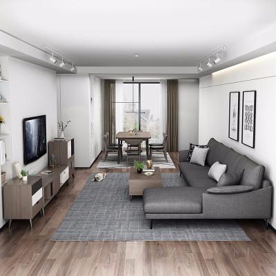 【套房】木月 北歐簡約客廳家具套裝組合 雅致 貴妃沙發+茶幾電視柜+1.4米一桌四椅 雅致