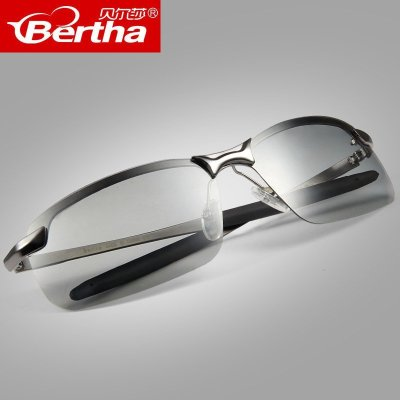 Bertha偏光变色太阳镜 超轻开车驾驶舒适眼镜时尚半框男士墨镜通用 PC镜片