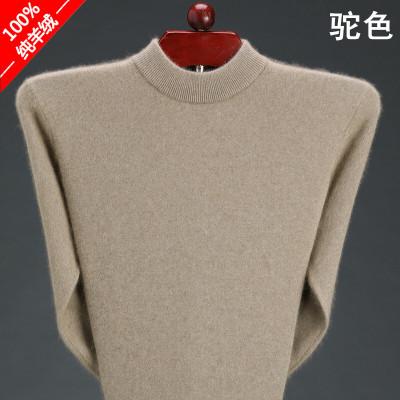 冬季伊淑服饰纯羊绒衫男加厚半高领毛衣中年保暖针织打底羊毛衫    新品限购一件