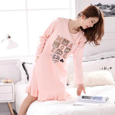 2019春季女睡裙长袖棉春秋季宽松加大码睡衣甜美可爱孕妇外穿性感中裙威珺