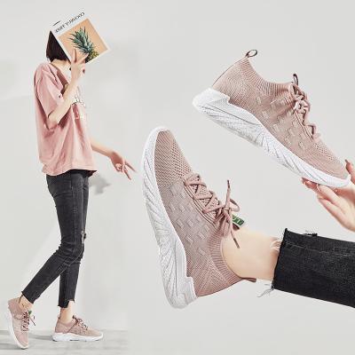 跨馬KYMA 夏季休閑鞋女鞋子女2020新款透氣飛織女士運動鞋經典跑步鞋時尚滑板鞋網布鞋青少年小白鞋N