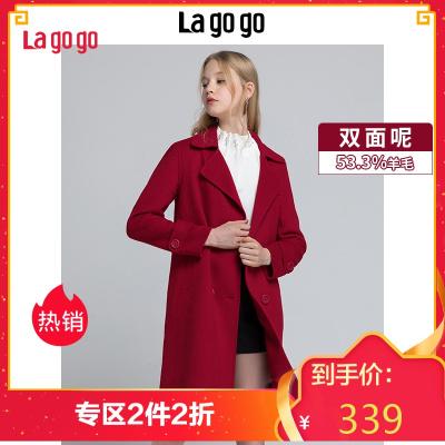 Lagogo2018秋冬季新款双面呢外套中长款呢子大衣女HCDD339C51