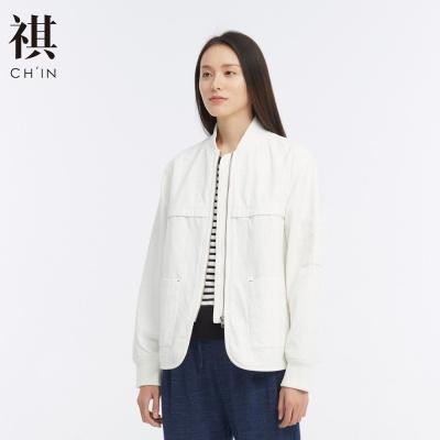 【1件3折價:118.5】CHIN祺夾克外套女短款早秋裝復古時尚顯瘦百搭bf夾克女款立領
