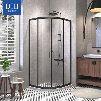 德立淋浴房钢化玻璃门淋浴房隔断定制弧形洗浴间浴室简易推拉门F7