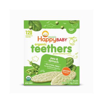 禧貝(Happy Baby)有機豌豆菠菜磨牙餅干 寶寶磨牙棒 48g/盒裝 原裝進口 6個月以上