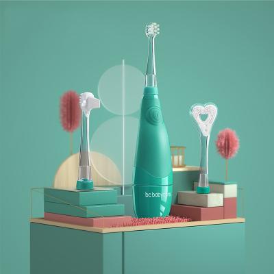 babycare兒童電動牙刷帶LED燈防水軟毛低震聲波1-3歲寶寶牙刷 科里斯綠