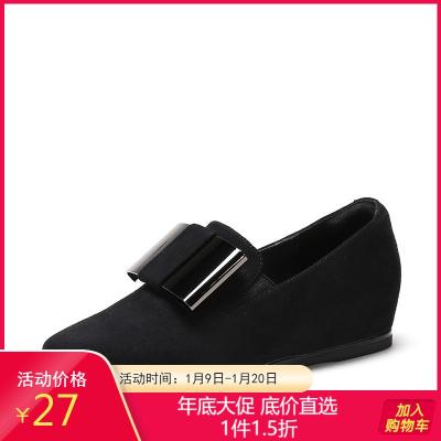 鞋柜女鞋新款复古方头蝴蝶结深口平底单鞋女1717404003