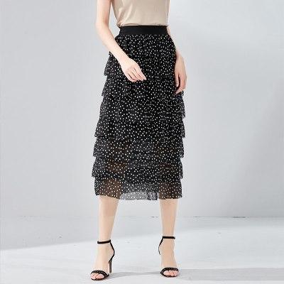 歐昵雪夏季修身松緊腰雪紡波點蛋糕裙中長款高腰半身裙女