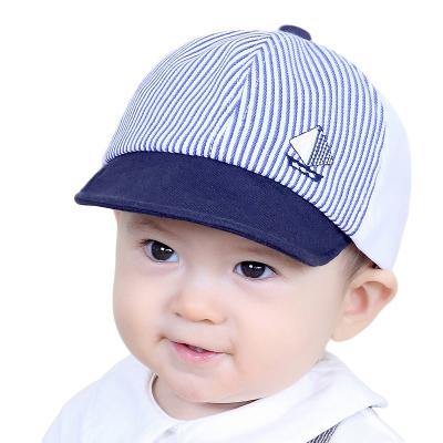 milky friends春秋寶寶棒球帽可愛帆船條紋男女童翻邊鴨舌帽