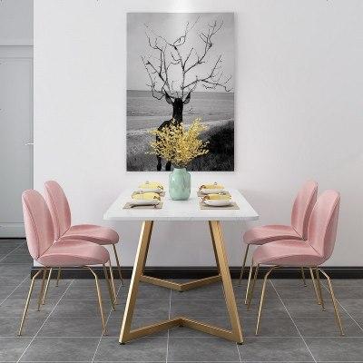 北欧ins大理石餐桌长方形餐桌椅组合现代简约小户型吃饭桌子家用