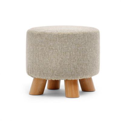 緣諾億 小圓凳布藝沙發凳 可拆洗小凳子實木換鞋凳創意四腿小板凳D01#