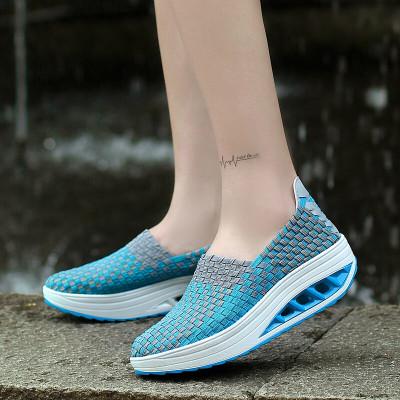 克卜勒kebule 2020新款搖搖鞋女韓版學生厚底編織帶彈力運動休閑鞋一腳蹬透氣舒適單鞋