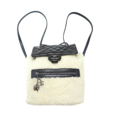 【二手95新】CHANEL香奈儿Backpack拼皮黑色羊羔毛 女士双肩包