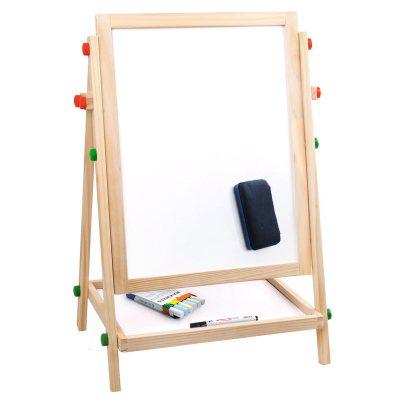 實木雙面磁性兒童畫板畫架小黑板套裝可升降支架式寫字板