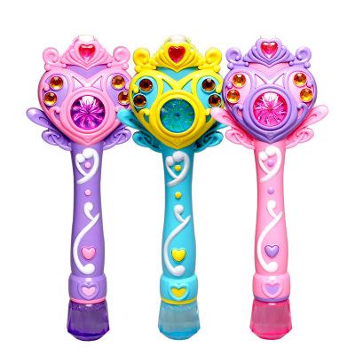 儿童自动魔法泡泡棒 音乐闪光棒电动泡泡枪吹泡泡女孩玩具颜色随机