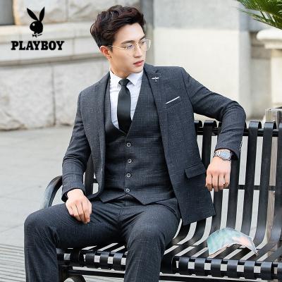 花花公子 ( PLAYBOY ICON )西服套裝男士韓版修身青年商務休閑工作上班宴會禮服男西裝三件套