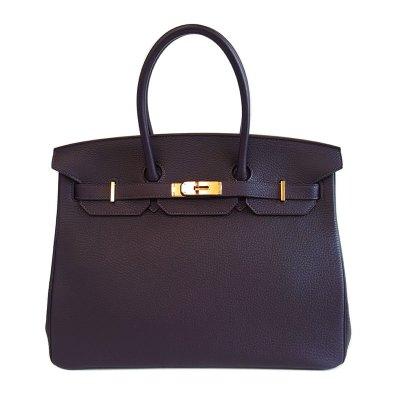 【正品二手99新】爱马仕(Hermès)Birkin35 女士5L葡萄紫 TOGO皮金扣 手提包 TOGO牛皮 全套含票