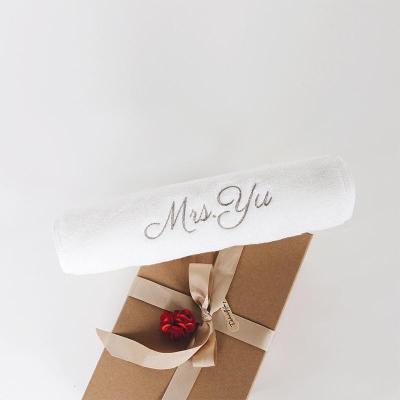 熱賣logo繡字生日刺繡DIY定制毛巾 定做純棉名字情侶結婚禮紀念