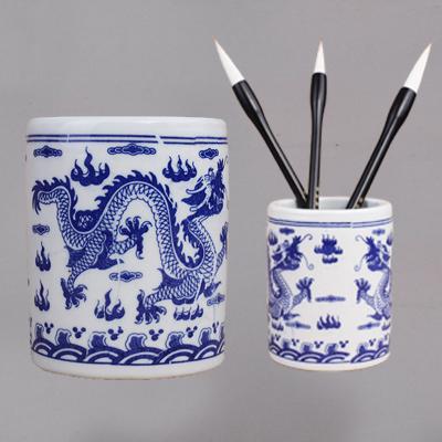 陶瓷青花瓷笔筒 双龙戏珠大号笔筒 毛笔洗缸瓷器书法国画用