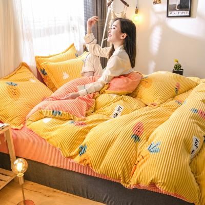 北极绒珊瑚绒四件套魔法双面绒法兰绒被套床单冬季宿舍床上法莱绒三件套