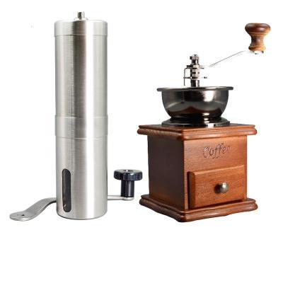 不銹鋼家用咖啡磨粉機 手動咖啡豆研磨機 手搖磨豆機研磨器 復古棕