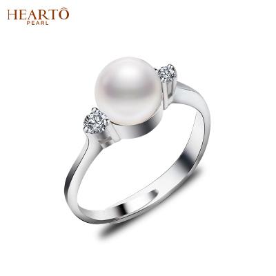 海瞳 淡水珍珠戒指 s925銀戒圈可調節 8-9mm 三色可選 經典簡約 珍珠戒指 女