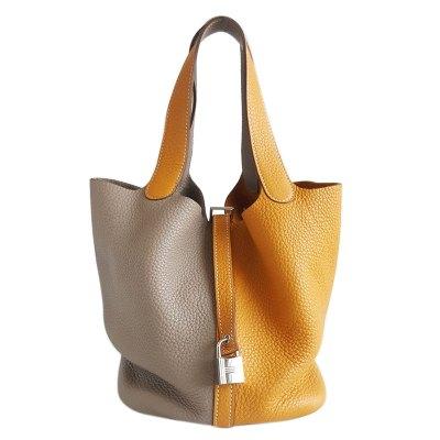 【正品二手99新】爱马仕(Hermès)Picotin 女士杏黄色 拼灰色菜篮子手提包 牛皮 含盒含票 方框P刻印