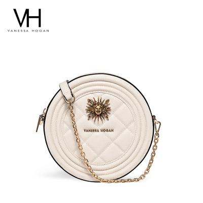 【官方正品】VH包包2019新款百搭斜挎包鏈條質感菱格包女個性單肩包復古小圓包