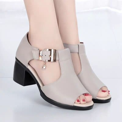 魚嘴涼鞋女春夏季羅馬女士粗跟鞋百搭中跟粗女鞋中年媽媽鞋 衫伊格(shanyige)
