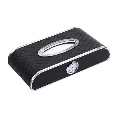 (黑色+停車牌+時鐘)ZHUAX汽車紙巾盒車載抽紙盒車用車內金屬餐巾紙皮革創意個性擺件扶手箱座式高檔鐘表網紅抖音同款