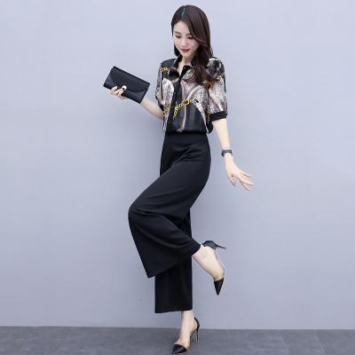 愫惠君時尚雪紡闊腿褲套裝2020夏季新款女裝御姐名媛氣質洋氣減齡兩件套8160