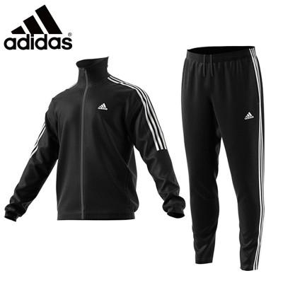 阿迪达斯 (adidas)运动套装 男款秋冬新品运动健身服速干羽毛球训练服长袖足球服两件套休闲套装 黑白条纹 BK408