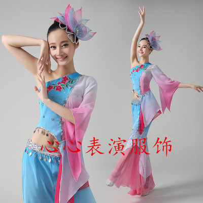 膠州秧歌扇子舞服裝江南雨表演服兒童古典舞蹈秧歌服演出服成人女