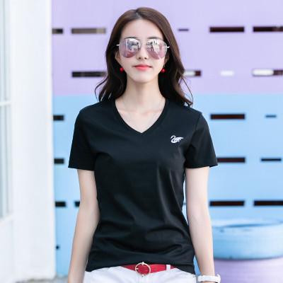 新穎 阿瑪施正女裝專柜正品T恤女2020夏季新款天鵝刺繡純棉短袖T恤女