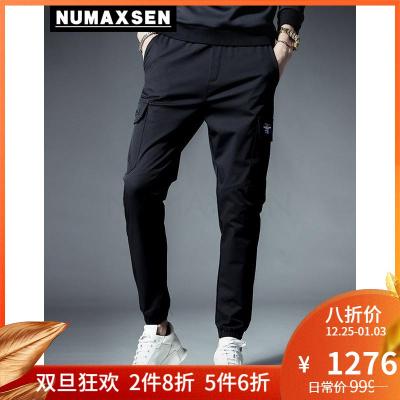 Numaxsen品牌男装休闲裤男黑色刺绣修身小脚工装裤2019夏季新款