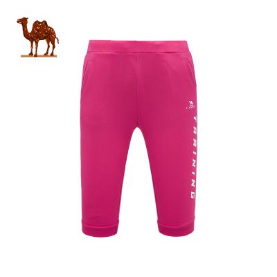 CAMEL骆驼户外运动裤 2019春夏新款女款运动休闲系带透气针织七分裤运动裤