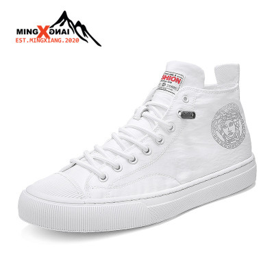 MINGXIANG男鞋2020夏季新款高幫布鞋不系帶小白鞋特色韓版雨傘布薄款透氣男士休閑板鞋潮