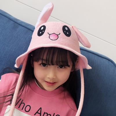 抹炫(MOXUAN)夏天儿童帽会动兔耳朵帽女孩渔夫帽男女童盆帽宝宝遮阳太阳帽子