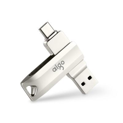 愛國者(aigo)128GB Type-C USB3.1 手機U盤 U351高速讀寫款 銀色 雙接口手機電腦用