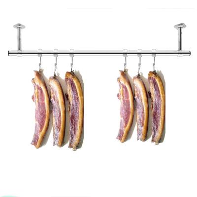 定制陽臺固定式晾衣桿25加厚不銹鋼掛衣桿曬衣架單桿墻吊頂裝 桿長1.5米+25cm高(送風勾)