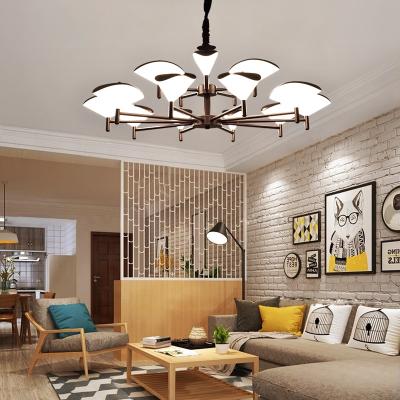 客厅灯北欧现代简约设计师大气个性创意时尚两室一厅家用吊灯 6头咖啡色三色光