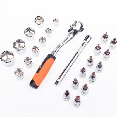 【苏宁自营】工具家24件10mm系列 AS004-024G汽修套筒系列组套 快速棘轮扳手套装 机修工具 汽修工具