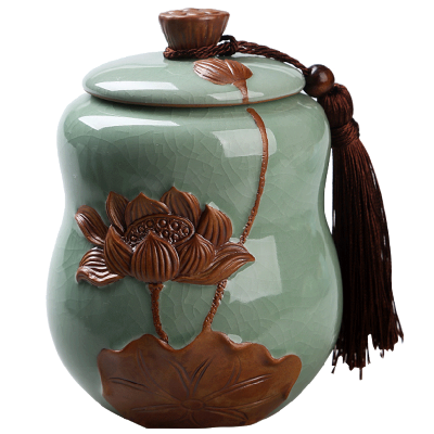 茶叶罐陶瓷普洱哥窑密封罐青瓷存储物罐大小号茶叶包装盒