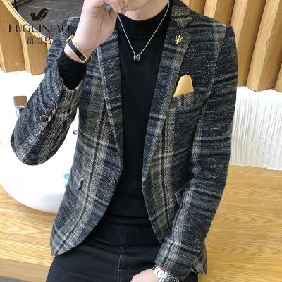 富贵鸟 男士 西服 男 休闲 单西男 外套 正装 上衣 2019秋季 新品 修身 韩版 小西服 男款 新郎 伴郎 礼服