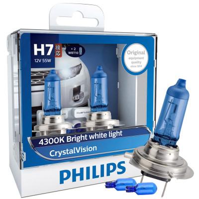 飛利浦(PHILIPS)水晶之光新銀戰士H7升級型汽車燈泡大燈燈泡近光燈遠光燈鹵素燈2支裝 色溫4300K