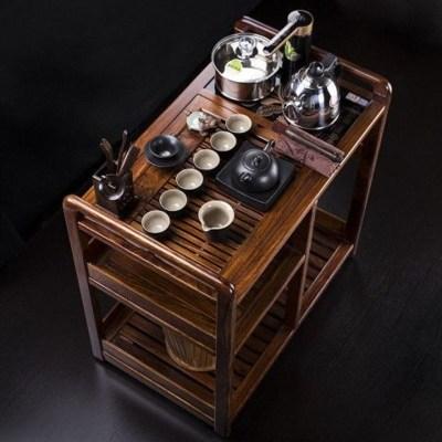 檀星星匯享花梨木茶車烏金石實木可移動帶輪茶臺水柜茶盤桌整套茶具套裝